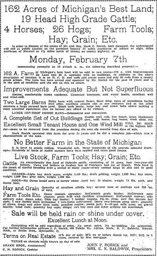 Mark Rorick Auction Daily Telegram 2-2-1927